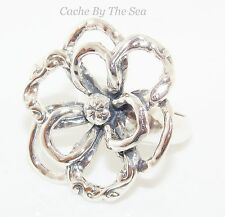 Silpada Filigree Sterling Silver Flower Power Ring Size 8 Retired R2784