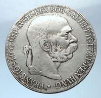 1907 AUSTRIA FRANZ JOSEPH I w Eagles Antique Silver Vintage 5 Corona Coin i73873