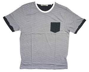 Brave Soul Mens Casual Black White Stripe Polka Dot MTS 149 Capone Tee Size L