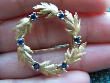 Vintage 14K Yellow Gold Circle Textured Leaf & Real Sapphire Gemstone Brooch Pin