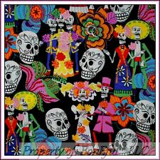BonEful Fabric FQ Cotton Quilt B&W Red Pink L Skeleton Skull Head Mexican Flower