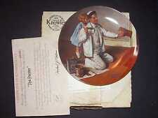"Nib Knowles China Norman Rockwell ""The Painter"" Plate & Certificate Box Mib Rare"