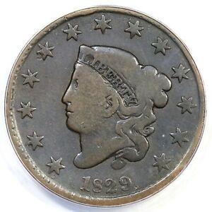 1829 N-4 R-4 ANACS VG 8 Matron or Coronet Head Large Cent Coin 1c