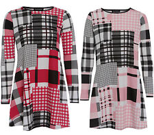 Polyester Round Neck Check Casual Dresses for Women