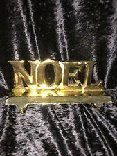 Vintage Christmas Brass Cast? NOEL Mantel Hook Dual Stocking Holder Hanger Heavy