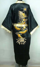 Hot Men's Silk/Satin Japanese Chinese Kimono Dressing Gown Bath Robe Nightwear #