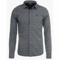 Emporio Armani Cotton Long Sleeve All Over Logo Grey Shirt