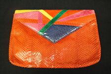 Red Large Exotic Snakeskin ENVELOPE Clutch/Shoulder Bag W/Front Closure