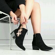 PD Black Suede Lace Up Ankle Boots - Size 3/4uk Blogger Fave Topshop Zara Style