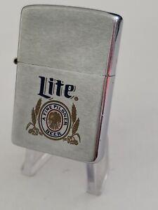Miller LITE BEER 1985 Vintage Zippo Lighter Pilsner Brewery Advertisement Sign