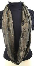 B125 Eternity Infinity Metallic Gold Black Studded High End Boutique Scarf $89