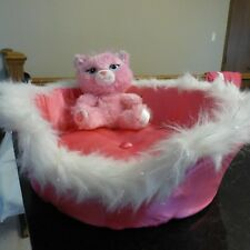 BAB workshop small fry glitter kittie & pink silky / furry bed FS