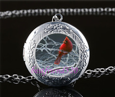 Northern Cardinal Cabochon Glass Tibet Silver Chain Locket Pendant Necklace