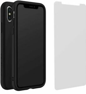 RhinoShield SolidSuit Case for iPhone X Carbon & Impact Protection Screen Bundle