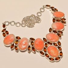 BEAUTIFUL PINK VICTORIAN PRINCESS CAMEO & CITRINE .925 SILVER NECKLACE 18""