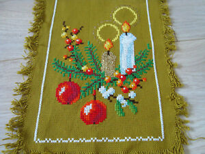 Vintage Christmas Hand Embroidered Tablecloth Table runner - Xmas ornament