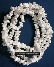 """Beautiful natural howlite chip beads 34"""" strand 6-12mm med sized beads  bs066"""