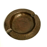 """Collectable Hammered Copper Ashtray Vintage Nice Patina Copper 5-1/2"""" Round"""