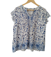 Dalia Womens Top Blouse Short Sleeve Flutter Sleeves Blue White Floral Sz Large