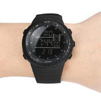 Herren Luxus Mode Gummiband Digital Army Military Sport Quarz Armbanduhr Black