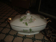 Vintage Czechoslovakia Lidded Tureen-Marked Bottom-Gold Handles-Green Flowers