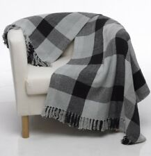 X Large Black Grey 100% Cotton Sofa / Bed Throw 260x260
