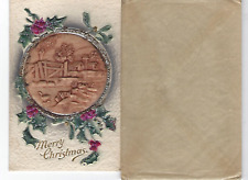 Post Cards 1914  Vintage Embossed Christmas Card & Mailing Envelope used B10 73