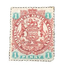 RHODESIA, SCOTT # 27, 1p. VALUE SCARLET & EMERALD 1896 COAT OF ARMS  ISSUE MH