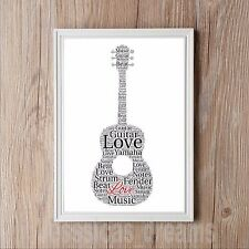 Acoustic Guitar Personalised A4 Word Art Print Gift Music Dad Daughter Birthday