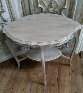 TAUPE Beige Vintage Antique Shabby Chic French PIE CRUST Lamp Sofa End Table