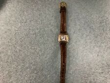 Charles Hubert Women's Silver and Gold Tone Square Quartz Watch Leather Band