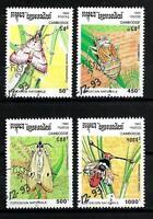 Insectos Camboya (3) serie completo de 4 sellos matasellados