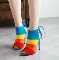 Sandals High Heel Peep Toe Stiletto Colorful Chromatic Slingback Zhou8