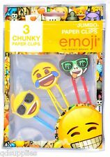 Pack 3 Emoji Jumbo Giant Paper Clips Novelty Smiley Face School Stationery EMCLP