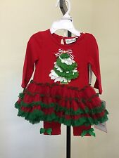 RARE EDITIONS INFANT GIRLS 2-PIECE CHRISTMAS OUTFIT TUTU TOP & LEGGING 3-6 MTH