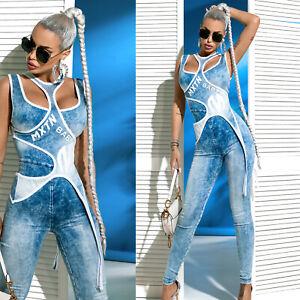 BY Alina MEXTON Damen Jeanslook Einteiler Catsuit Jeans Jumpsuit 34-38 #D465