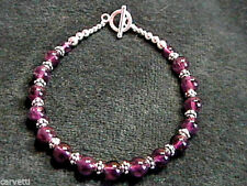Amethyst and Sterling Silver Bali Bead Bracelet - 8.5""
