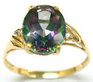 SYJEWELLERY 9CT YELLOW GOLD NATURAL MYSTIC TOPAZ & DIAMOND RING SIZE N R1013
