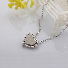 Damen Mädchen 925 Sterling Silber Anhänger Kette Halskette Herz Liebe Herzchen