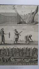 Pêche - Gravure authentique du 18eme siècle - Pêches de Mer - 16/23 -