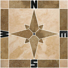 "32"" Noce & Beige Travertine Compass Mosaic Tile Medallion Backsplash or Flooring"