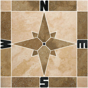 "18"" Noce & Beige Travertine Compass Rose Mosaic Tile Medallion Floor Backsplash"