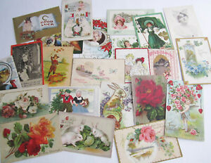 150 Victorian Early 1900s All Holiday Postcard Lot Christmas Love Birthday &More