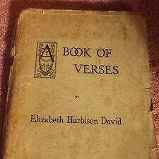 1926 - A BOOK OF VERSES - Elizabeth Harbison David - SIGNED - Poetry Poem Tudor