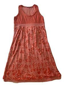 Athleta  Vyasa, flame red tiger lily, knee length dress, small