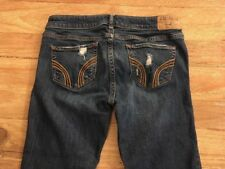 HOLLISTER SKINNY STRAIGHT DESTROYED RIPPED LOWRISE DENIM JEANS SIZE 3L  W26 L32