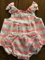 Janie and Jack Pineapple Love Bloomer Set Girls Neon Pink Bows Size 3-6 Months