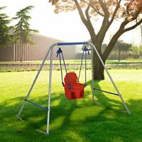 Swing Frame with Safery Seat for Kids Outdoor Folding Adjustable Ropes Red