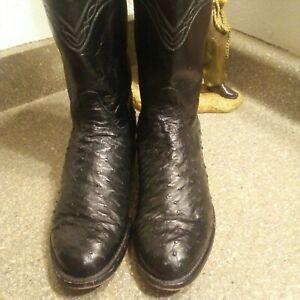 Justin Full Quill Ostrich Cowboy Boots Mens sz10D EXCELLENT