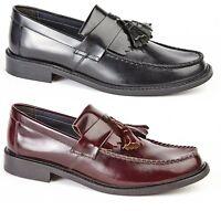 Roamers Skinhead Polished Leather Tassle Loafers Oxblood Toggle Saddle Shoes New